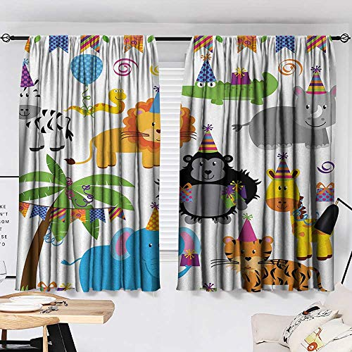 Kids Birthday Drapes/Draperies Jungle Wild Safari Animals in Cartoon Pattern with Party Hats Flags Image Family Darkening Curtains Multicolor W55 x L39 by Jinguizi (Image #1)