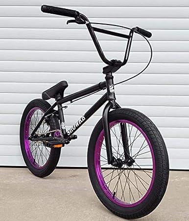GASLIKE Bicicletas BMX de 20 Pulgadas para Ciclistas Principiantes a avanzados, Cuadro de Acero al Cromo-molibdeno Que Absorbe los Golpes, Engranaje BMX 25X9T, diseño de Freno en Forma de U,Black Red