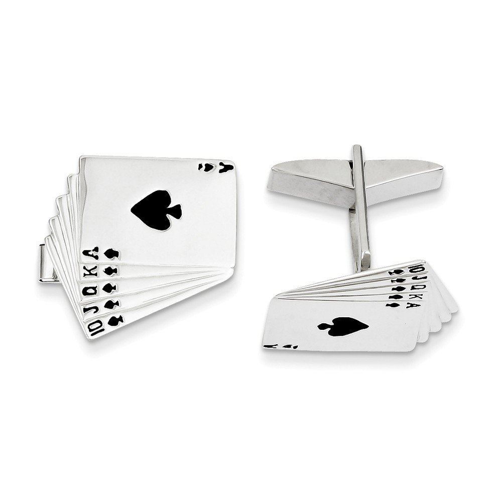 14k Solid White Gold Enameled Royal Flush Cuff Links