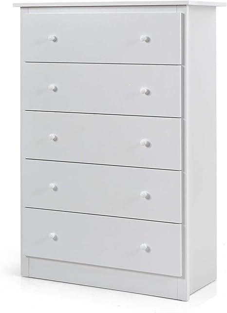 5 Drawer Dresser Chest Drawers Wooden Clothes Storage Bedroom Furniture