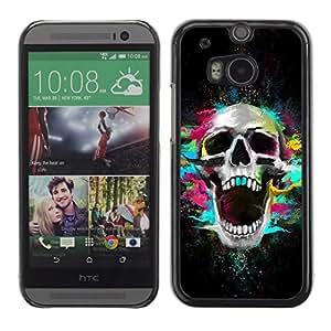 Qstar Arte & diseño plástico duro Fundas Cover Cubre Hard Case Cover para HTC One M8 ( Skull Neon Scream Teeth Skeleton Colorful)