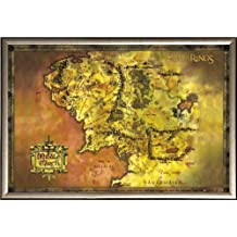 Lord of the Rings (Map of Middle Earth) 36x24 Dry Mount Poster Gold Wood Framed