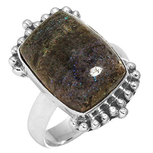 Natural Honduran Black Matrix Opal Gemstone Handmade Jewelry Solid 925 Sterling Silver Ring Size 5