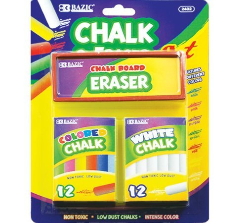 White and Color Chalk with Erasers Set Quantity: Case of 72