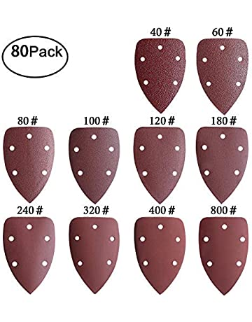 93 x 185 mm SIQUK 40 Piezas Hojas de Lija con 8 Agujeros Papeles de Lija 40//60// 80//120// 180//240// 320//400 Granos