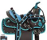 AceRugs 10 12 13 BLACK BLUE KIDS YOUTH PONY SMALL HORSE SADDLE TACK SET SHOW PLEASURE TRAIL FREE PAD BRIDLE (12)