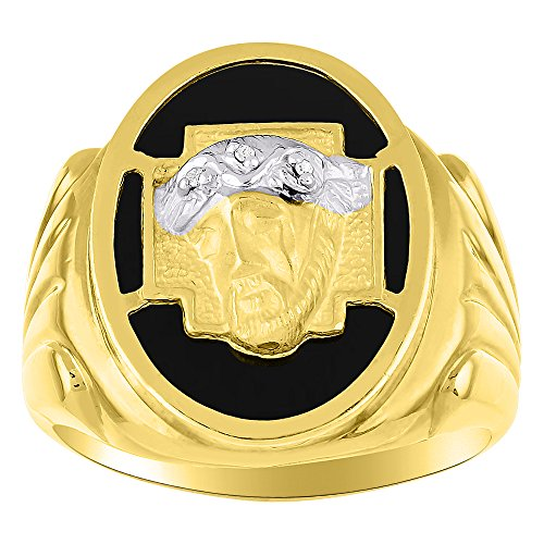 Diamond & Black Onyx Ring Sterling Silver or Yellow Gold Plated Christ Head