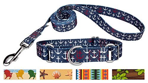 Country Brook Design Anchors Away Martingale Dog Collar & Leash - Large
