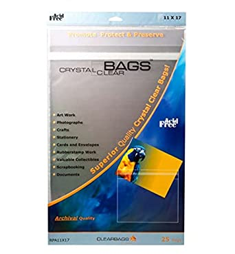 ClearBags RPA11X17 Crystal Clear Protective Closure Bags - Retail Pack - 11 x 17 (Pack of 25)