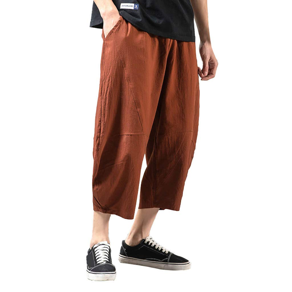 SFE Men's Leisure Pure Color Linen Loose Ankle-Length Pants Casual Party Holiday Summer Fashion New 2019 Coffee