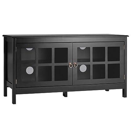 Amazon.com: Ploywipada TV Stand Wood Glass Storage Console Cabinet ...
