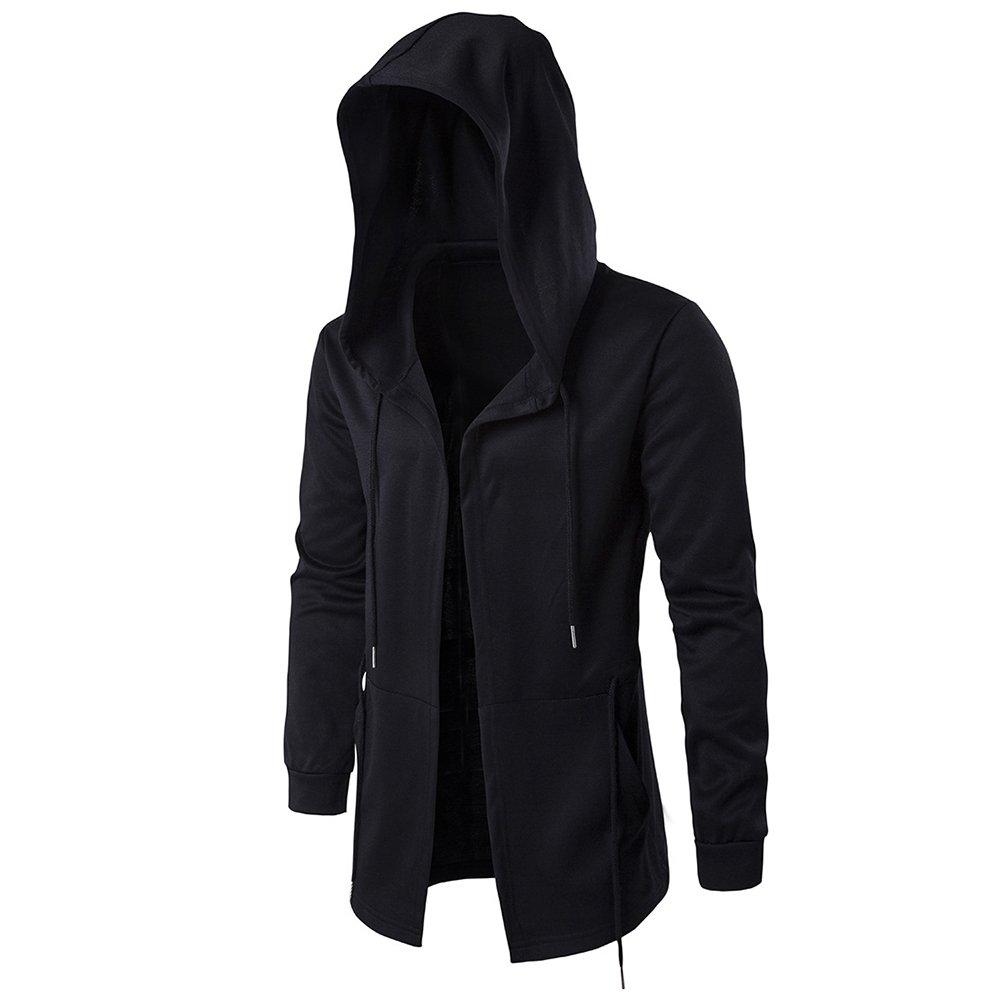 RONSHIN New Dark Mens Windbreaker Long Cloak Hooded Coat at Amazon Mens Clothing store: