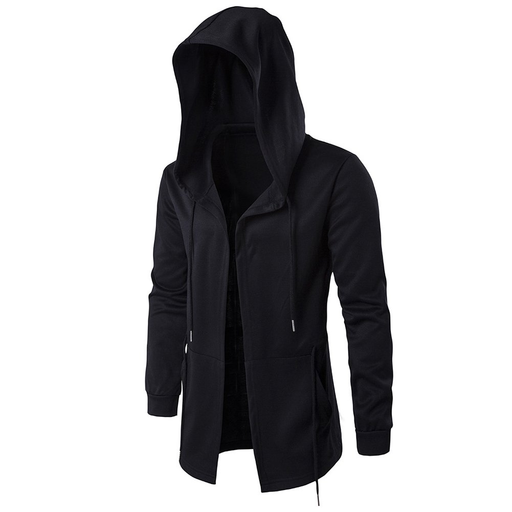 RONSHIN New Dark Men's Windbreaker Long Cloak Hooded Coat