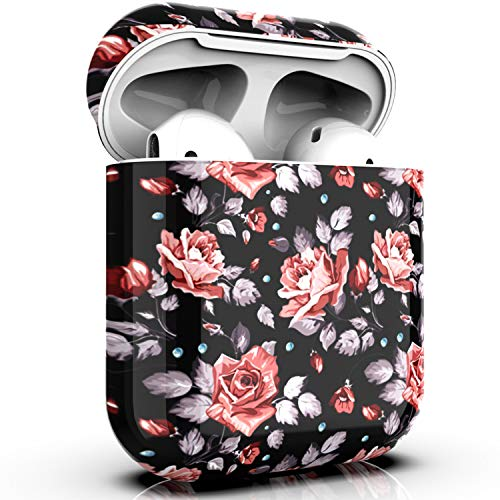 PBRO AirPods Case Cute Floral Print Case Protective Hard Shockproof Case Cover [Front LED Not Visible] Compatible with Apple AirPods 2 & ()