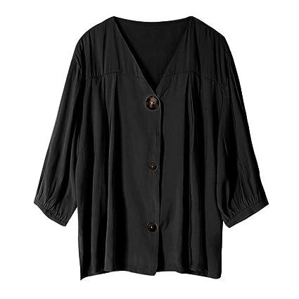 780a97979d41 DAFREW Camisa de Color sólido para Damas Suelta Camisa de Cuello en ...