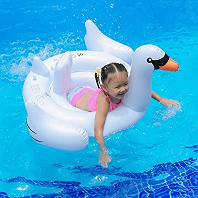 Inflatable Children's Swan Swimming Ring, Inflatable Baby Float Swimming Boat Seat for Summer Outdoor Beach Swimming Pool Party suit for Kids Over 3 Years Old (White): Kitchen & Dining