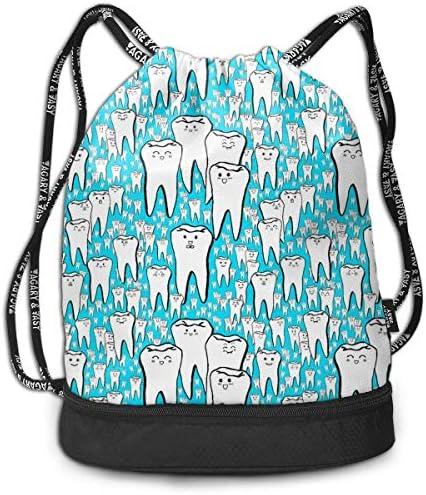 1Zlr2a0IG Teeth Drawstring Backpack Drawstring Bag Yoga Bag Hiking Cool Duffle Bag Light Casual Daypack for Shopping Sport Yoga