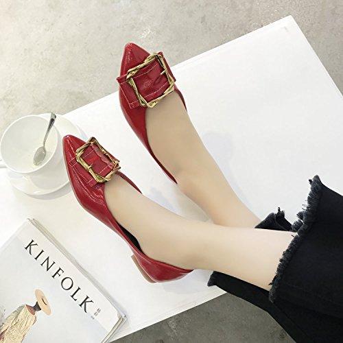 Plano de Hebilla Mujer de con Wild Solo Anti Que Zapatos El rojo Fondo Punta Elegante Qiqi Zapatos Xue Mujer metálica Zapatos Embarazada de Deslizamiento 7Eqvz8w