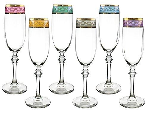 Fine 14K Gold Multicolor Authentic Italian Champagne Flutes 9 Inches 6 piece Gift Set (Italian Star)