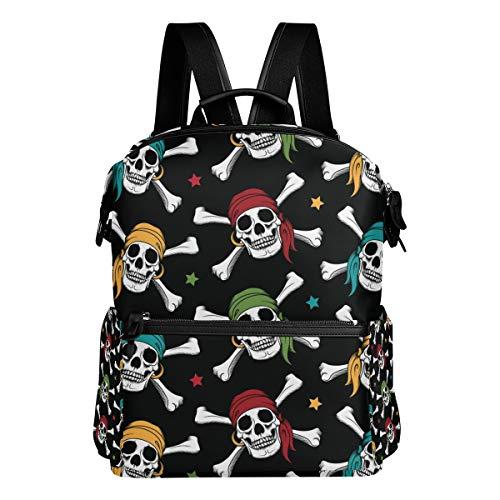 - Backpack Rucksack Travel Daypack Crossbone Skull Pirates Colorful Scarf Student School Book Bag Casual Travel Waterproof