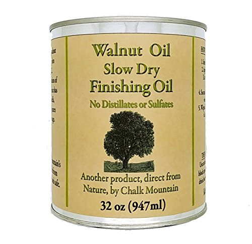 Chalk Mountain Walnut Oil Finisher - Food Safe - Great for Wood Bowls - Cutting Boards - Bare Wood - Much Much More (32 oz.) by Chalk Mountain Brushes (Image #1)