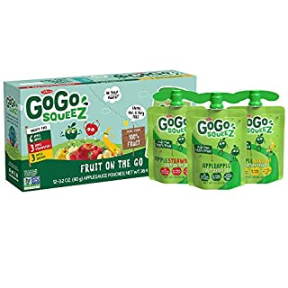 GoGo squeeZ Applesauce, Variety Pack (Apple/Banana/Strawberry), 3.2 Ounce (12 Pouches), Gluten Free, Vegan Friendly, Unsweetened, Recloseable BPA Free Pouch