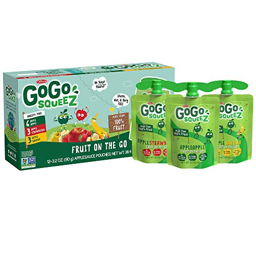 GoGo squeeZ Applesauce, Variety Pack (Apple/Banana/Strawberry), 3.2 Ounce (12 Pouches), Gluten Free, Vegan Friendly, Unsweetened, Recloseable, BPA Free Pouches