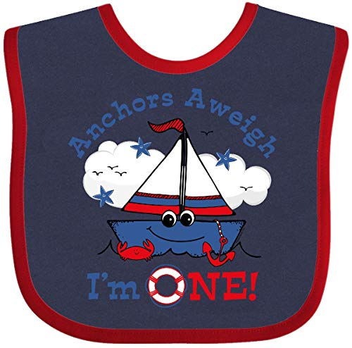 - Inktastic - Little Sailboat 1st Birthday Baby Bib Navy and Red 116a1