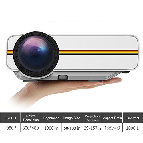 ROFISA Mini Portable HD 1080P LED Multimedia Projector, High Resolution Support HD PC USB HDMI AV VGA for Video Movie Games Entertainment