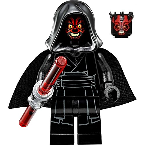 LEGO Star Wars Sith Minifigure - Darth Maul Evil Smile with Horns, Hood, and Lightsaber (75096) (Darth Maul Lego Figure)