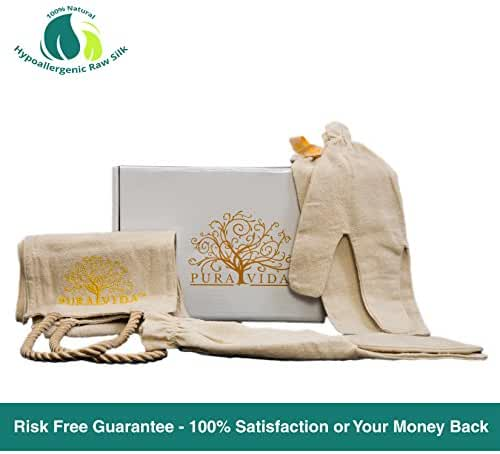 2 Garshana Gloves For Ayurvedic Dry Massage - Includes Bonus Exfoliating Back Scrubber Sheet | 100% Raw Silk Gloves | Eliminate Cellulite, Increase Blood Circulation, Remove Dead Cells & Reduce Stress