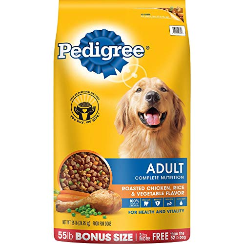 Pedigree Adult Roasted Chicken, Rice & Vegetable Flavor Dry Dog Food 55 Pounds ()
