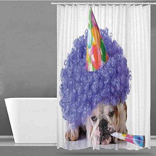VIVIDX Home Decor Shower Curtain,Kids Birthday,Boxer Dog Animal with Purple Wig with Colorful Party Cone Funny Photo Print,Single stall Shower Curtain,W60x72L Multicolor]()