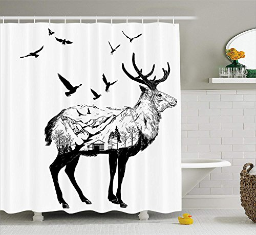 (Deer Shower Curtain Set Mountain and Cottage Scenery in Hand Drawn Animal Flying Birds Countryside Wildlife Themed Fabric Bathroom Decor with Hooks Extra Long Black White 54