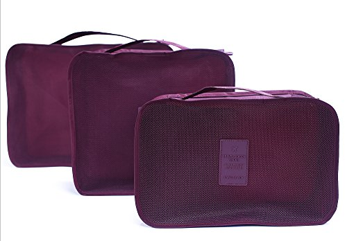 6 sets travel Organizers Packing Cubes Luggage Organizers Compression Pouches(Wine red)