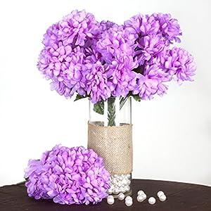 BalsaCircle 56 Lavender Silk Chrysanthemums – 4 Bushes – Artificial Flowers Wedding Party Centerpieces Arrangements Bouquets Supplies