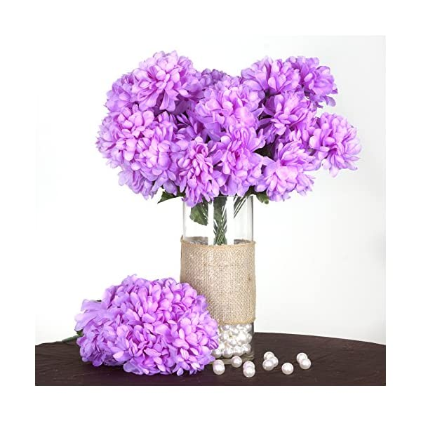 BalsaCircle 56 Lavender Silk Chrysanthemums – 4 Bushes – Artificial Flowers Wedding Party Centerpieces Arrangements Bouquets Supplies