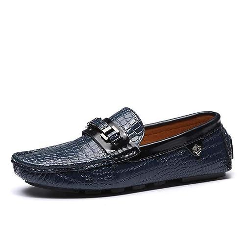 Mocasines de patrón de cocodrilo para Hombre - Zapatos de Barco - Zapatos de conducción deslizantes-Zapatos de Guisantes-Zapatos Planos: Amazon.es: Zapatos ...