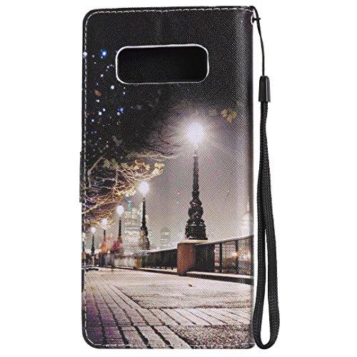 LEMORRY Samsung Galaxy Note8 Hülle Tasche Ledertasche Flip Beutel Haut Slim Bumper Schutz Magnetisch Schließung SchutzHülle Weich Silikon Cover Schale für Galaxy Note 8, Heiligabend
