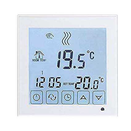 Beok BOT323W Termostato Programable Digital de Calefacción por Calderas de Gas, con Pantalla LCD Controlador de Temperatura 1.50 voltiosV Funciona ...