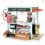 ROBOTIME DIY Miniature Doll House with Accessories - Creative Room Decorations - Mini House Kits with English Instructions Best Birthday Gifts for Boys & Girls (Ice Cream Station)