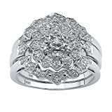 White Diamond Platinum over .925 Silver 3-Piece Bridal Ring Set (.14 cttw, HI Color, I3 Clarity) Size 9