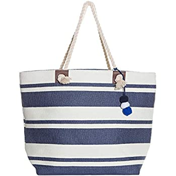 Beach Bag By Pier 17 - Extra Large Straw Beach Tote with Top Zipper Closure, Cotton Rope Handles, 2 Inner Pocket and Built-In Inner Backing Support for Extra Durability -