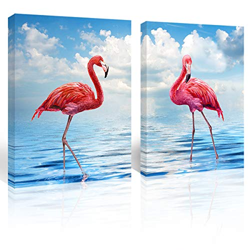 Purple Verbena Art Flamingo in Beach Water Canvas Print Art Seascape Painting Blue Sky Ocean Picture Paint Wall Art Home Decoration Artwork Gifts for Living Room Bedroom,Framed 12x16 Inches 2 PCS