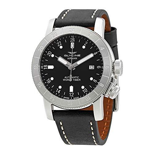 Glycine Airman World Timer GMT Automatic Black Dial Mens Watch GL0137
