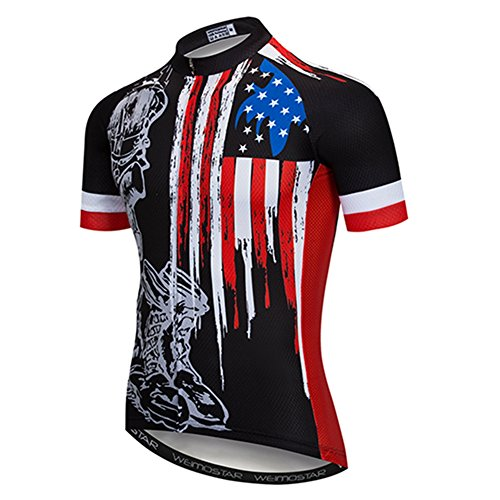 (Weimostar Men's USA Cycling Jersey Short Sleeve Biking Shirts Breathable with Pokects Black Size XXL)