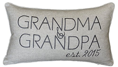DecorHouzz Grandpa and grandma Personalized Pillow Cover Embroidered Couple Anniversary Customized nana Pillow Cases Throw Pillow Cushion Covers Decorative Pillow