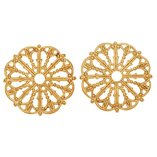 (Vintaj Vogue Embellishments, Filigree Medallion 17.5mm, 2 Pieces, Raw Brass)