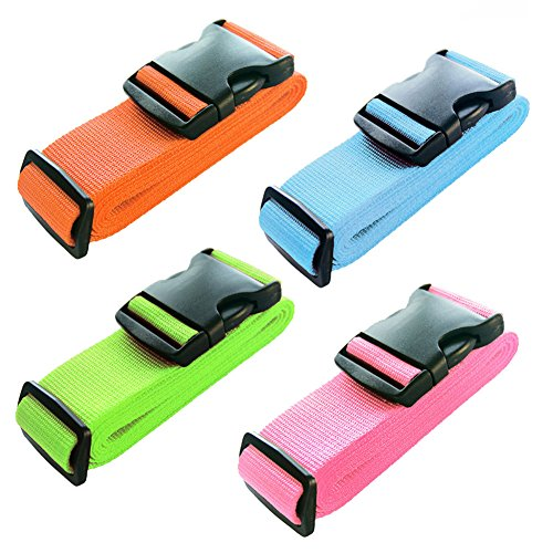 BlueCosto Luggage Strap Suitcase Belt Travel Accessories, 4-Pack, 4-Color ()