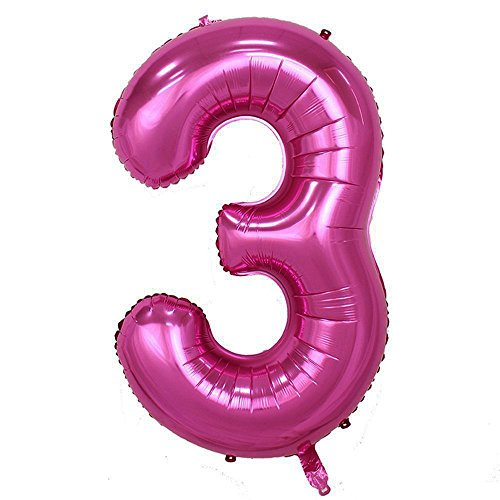 LANGXUN 40inch Pink Number 3 Foil Number Balloons for 3 Year Old Birthday Party Supplies and Birthday Decorations and Birthday Photo Booth Props